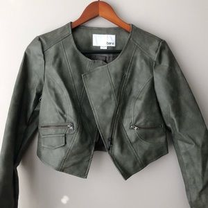 Bar III Gray Faux Leather Cropped Jacket